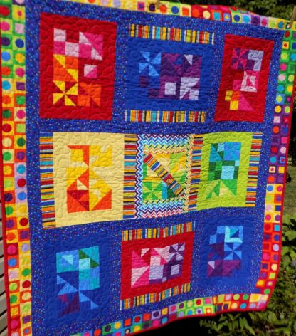 53 x 60 Bright colorful kids quilt